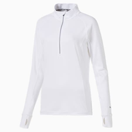 Rotations golftrui met kwartrits dames, Bright White, small