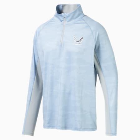 Volition Signature 1/4 Zip Pullover, Faded Denim, small