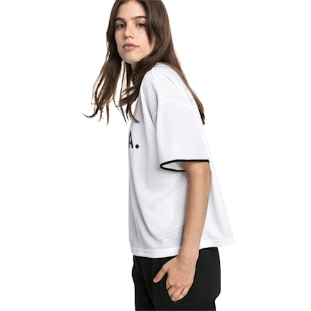 Chase Mesh T-shirt voor dames, Puma White, small