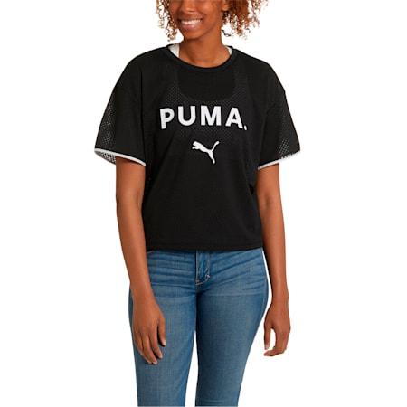 Chase Mesh Women's Tee, Puma Black, small-SEA