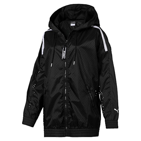 Chase Woven Full Zip Hooded Women's Jacket, Puma Black, small-IND