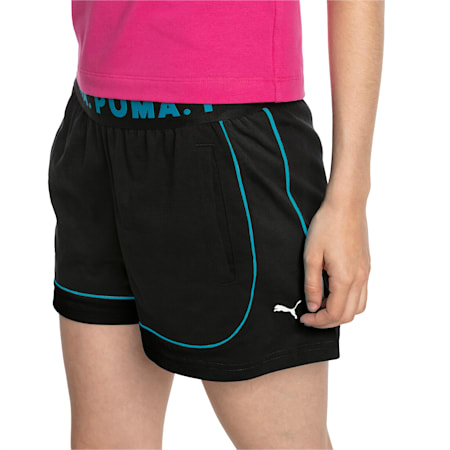 Chase Women's Shorts, Cotton Black-Caribbean Sea, small-IND