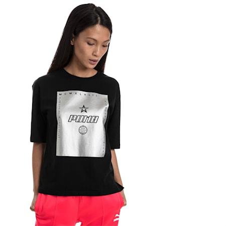 TZ Damen T-Shirt, Cotton Black, small