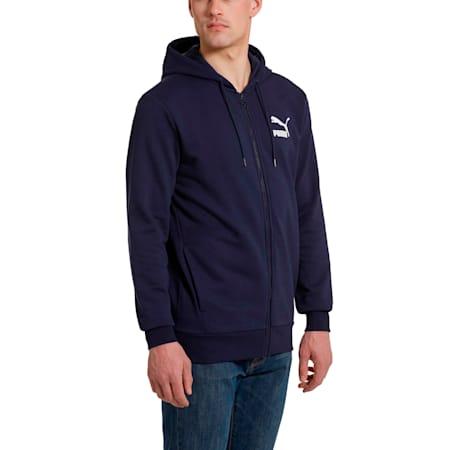 Classics Men's Full Zip Logo Hoodie, Peacoat, small