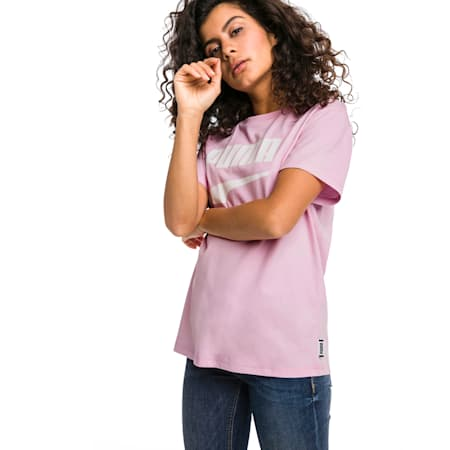 Downtown Short Sleeve Women's tee, Pale Pink, small