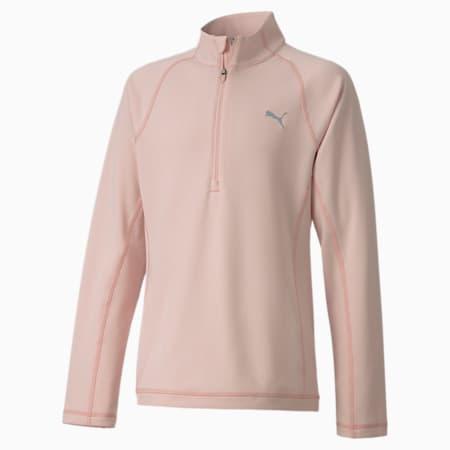 Golfsweater voor meisjes met kwartrits, Peachskin, small