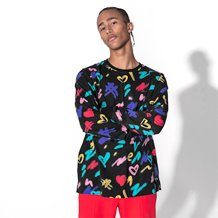 PUMA x BRADLEY THEODORE Long Sleeve Men's Tee, Puma Black-AOP, small-SEA