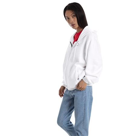 Crush Full Zip Women's Hoodie, Puma White, small-SEA