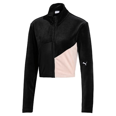Rive Gauche Full Zip Women's Track Jacket, Puma Black, small-SEA