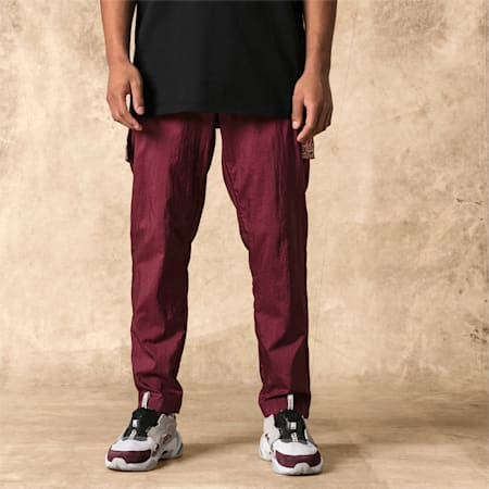 PUMA x LES BENJAMINS Men's Track Pants, Burgundy, small-SEA