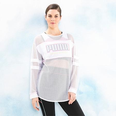 PUMA x SOPHIA WEBSTER Women's Long Sleeve Mesh Top, Puma White, small