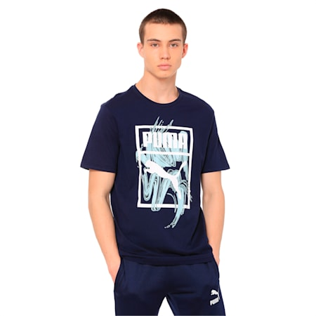 Graphic Logo Brush Tee, Peacoat, small-IND