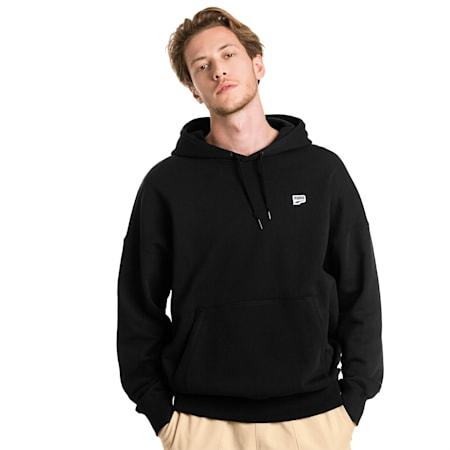 Downtown Knitted Men's Hoodie, Cotton Black, small-SEA