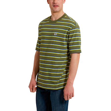 Downtown Striped Men's Tee, Olivine, small
