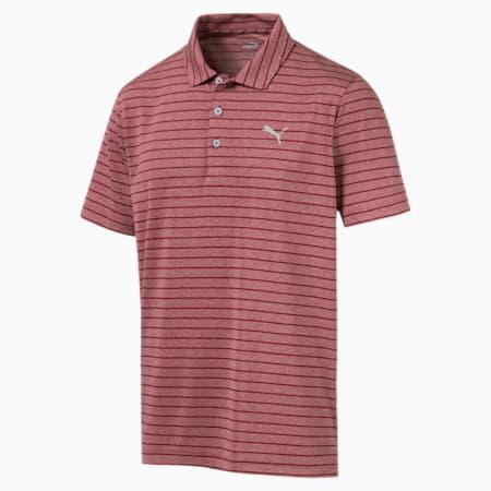 Camiseta tipo polo a rayas Rotation para hombre, Rhubarb, pequeño