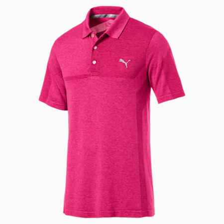 evoKNIT Breakers Men's Golf Polo, Fuchsia Purple Heather, small-SEA