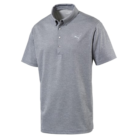 Grill to Green Men's Golf Polo, Peacoat Heather, small