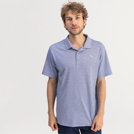 Grill to Green Men's Golf Polo, Dazzling Blue Heather, small