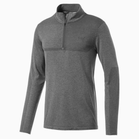 evoKNIT 1/4 Zip Men's Long Sleeve Shirt, Medium Gray Heather, small