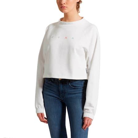Fierce Cat Women's Cropped Crewneck Sweatshirt, Puma White, small