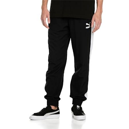 아이코닉 T7 트랙 팬츠 우븐/Iconic T7 Track Pants Woven, Puma Black, small-KOR
