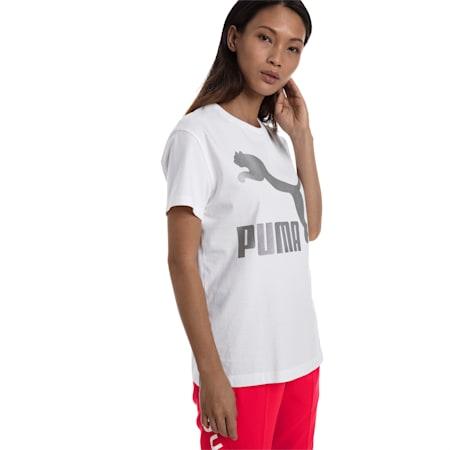 CLASSICS ロゴ ウィメンズ SS Tシャツ 半袖, Puma White-metal, small-JPN