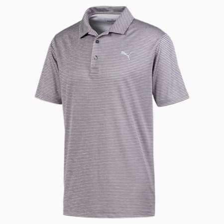 Performance Striped Men's Golf Polo Shirt, QUIET SHADE Heather, small-IND