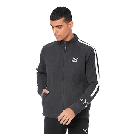 PUMA x Virat Kohli Men's Sweat Jacket, Dark Gray Heather, small-IND
