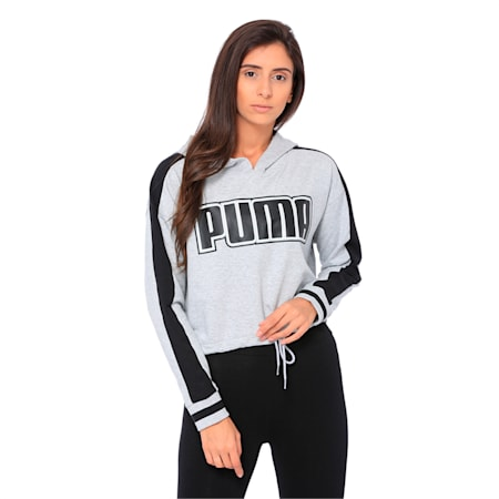 Women's Rebel Reload Cropped Hoodie, Light Gray Heather, small-IND