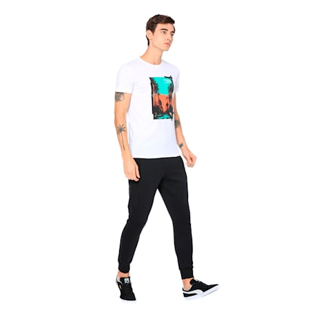 Graphic Palm Printed Men's Tee, Puma White-FTW, small-IND