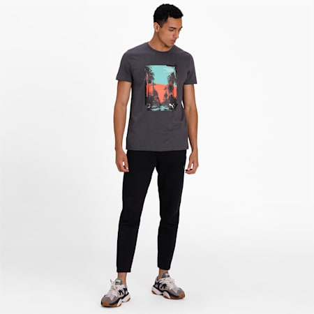 Graphic Palm Printed Men's Tee, Asphalt, small-IND