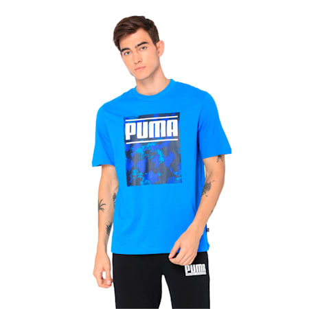 Graphic Printed Men's T-shirt, Indigo Bunting, small-IND