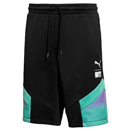 PUMA x MTV MCS Allover-Print Herren Shorts, Puma Black-AOP, small