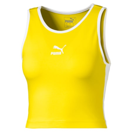 Classics T7 Cropped Women's Tank Top, Blazing Yellow, small