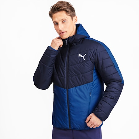 warmCELL Men's Padded Jacket, Galaxy Blue-Peacoat, small