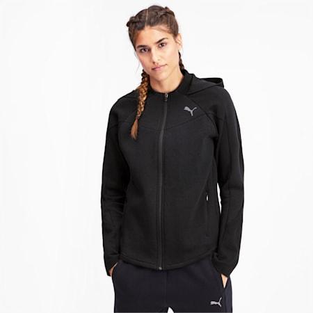 Evostripe Full Zip Women's Hoodie, Puma Black, small-IND