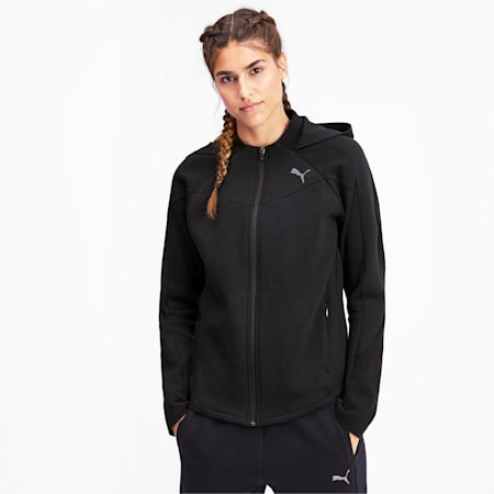 Evostripe dryCELL Reflective Tec Full Zip Women's Hoodie, Puma Black, small-IND