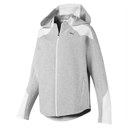 Evostripe dryCELL Reflective Tec Full Zip Women's Hoodie, Light Gray Heather, small-IND