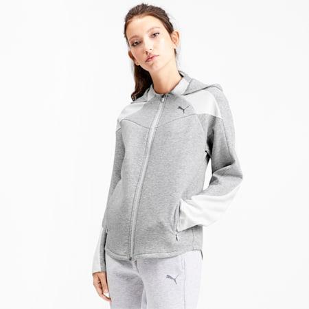 Evostripe Full Zip Women's Hoodie, Light Gray Heather, small-IND
