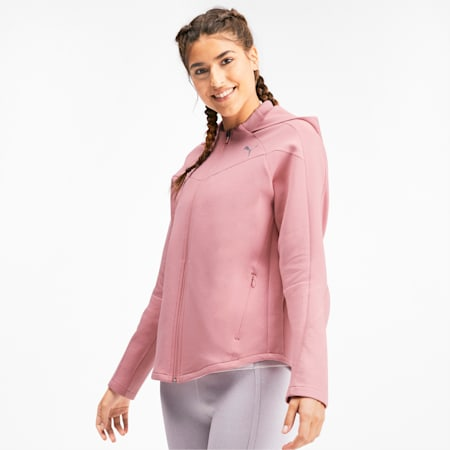 Evostripe dryCELL Reflective Tec Full Zip Women's Hoodie, Bridal Rose, small-IND
