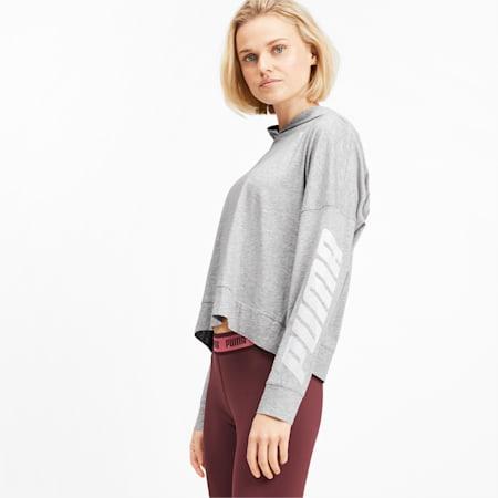 Modern Sport Long Sleeve Women's Hoodie, Light Gray Heather, small-IND
