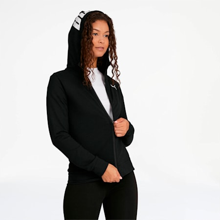 Chaqueta Modern Sports con capucha y cierre completop ara mujer, Puma Black, pequeño
