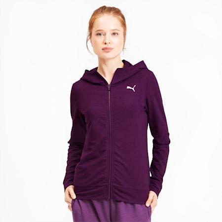 Modern Sports Women's Full Zip Logo Hoodie, Plum Purple, small