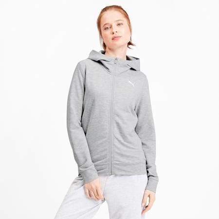 Modern Sports Women's Full Zip Logo Hoodie, Light Gray Heather, small