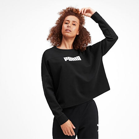 NU-TILITY Cropped Crew Women's Sweater, Puma Black, small-IND