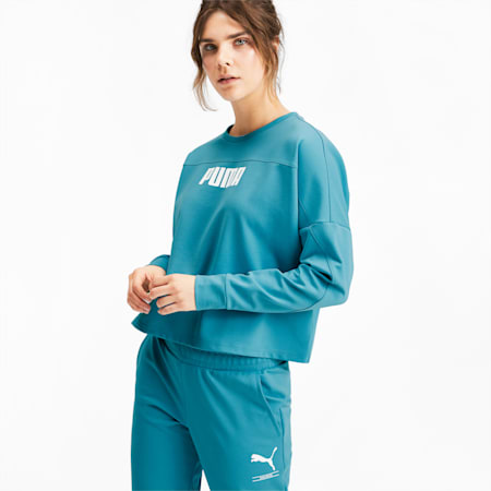 NU-TILITY Women's Cropped Crewneck Sweatshirt, Milky Blue, small