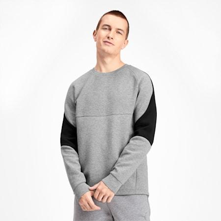 Evostripe Crew Men's Sweater, Medium Gray Heather, small