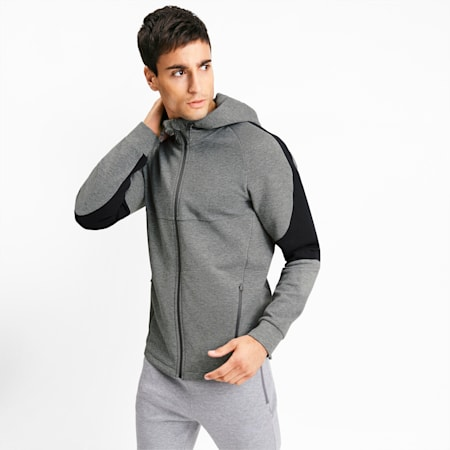 Evostripe Full Zip Men's Hoodie, Medium Gray Heather, small
