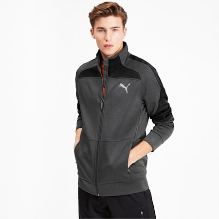 Evostripe Warm Full Zip Men's Jacket, Dark Gray Heather, small-IND