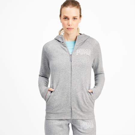 Athletics Women's Full Zip Hoodie, Light Gray Heather, small